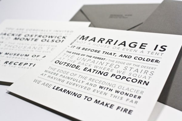 Marriage Poem Letterpress Card