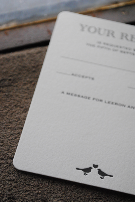Elegant Black and White Letterpress Wedding Invites