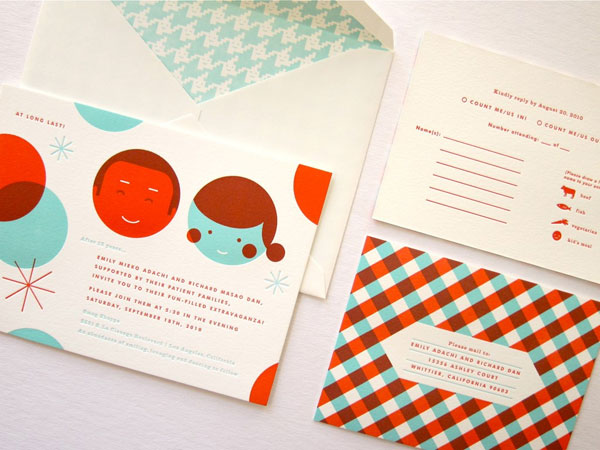 Retro Modern Red and Teal Letterpress Wedding Invites