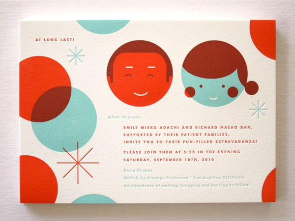 Mid Century Modern Letterpress Wedding Invitations
