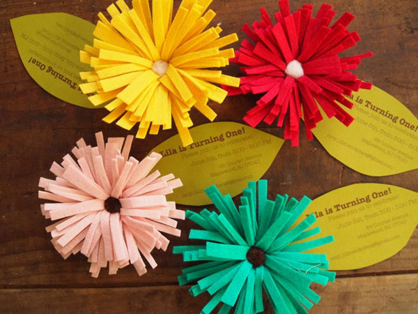 Handmade Felt Flower Invitations