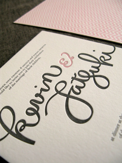 Hand Lettered Letterpress Wedding Invitations
