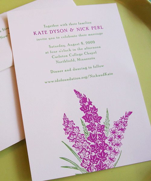 Lunalux Floral Letterpress Wedding Invitations
