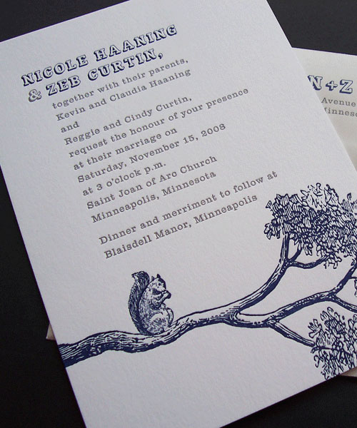 Squirrel Woodland Letterpress Wedding Invites
