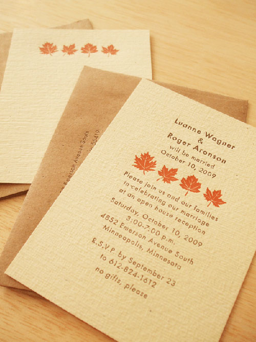 Fall Letterpress Wedding Invitations
