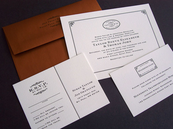 Train Themed Letterpress Wedding Invitations