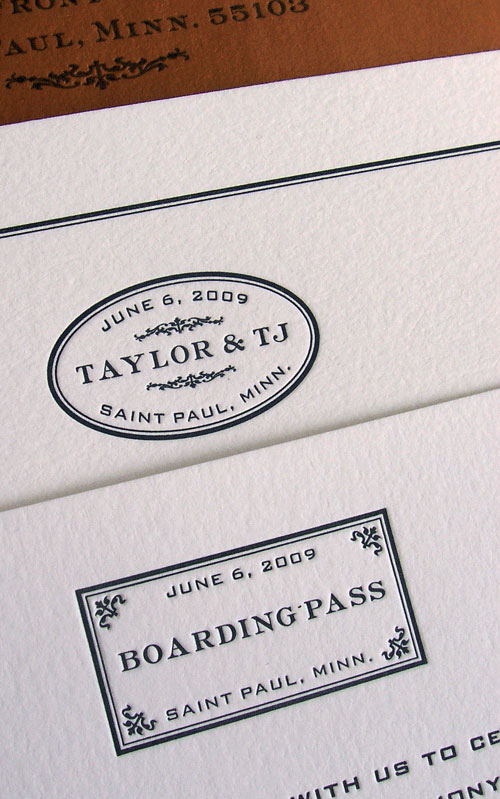 Train Themed Letterpress Wedding Invites