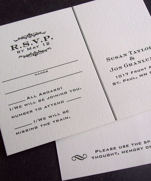 Vintage Train Inspired Letterpress Invitations