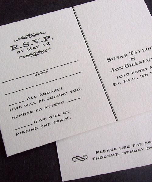 Vintage Train Inspired Letterpress Invitations