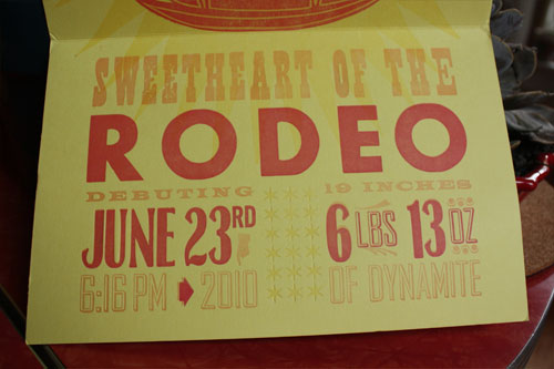 Rodeo Custom Letterpress Birth Announcements