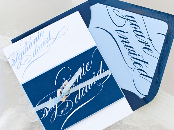 Blue Typography Letterpress Wedding Suite