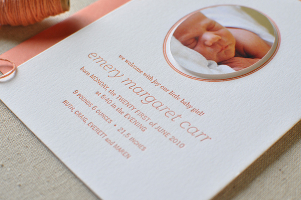 Papaya Custom Letterpress Birth Announcements