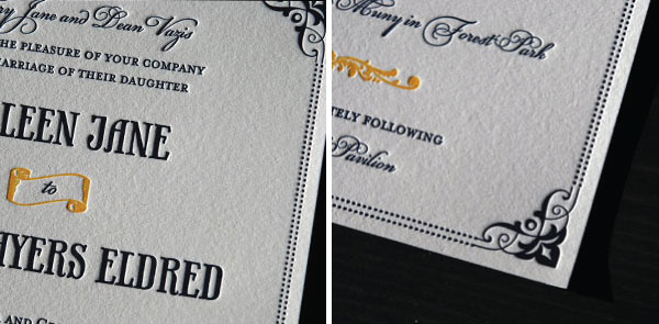 Vintage Style Letterpress Wedding Invitations