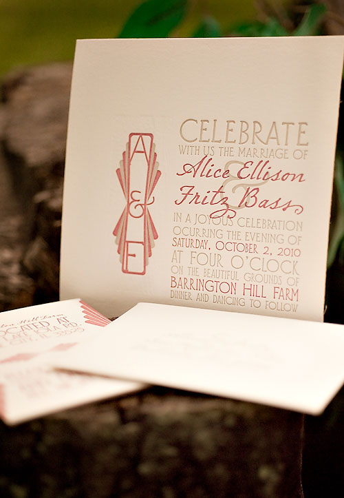 Art Deco Letterpress Wedding Invitations