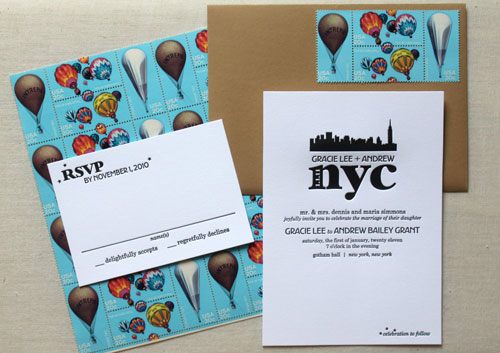 black and white wedding invitations nyc