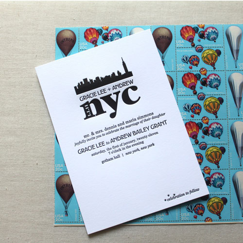 New York City Themed Wedding Invites