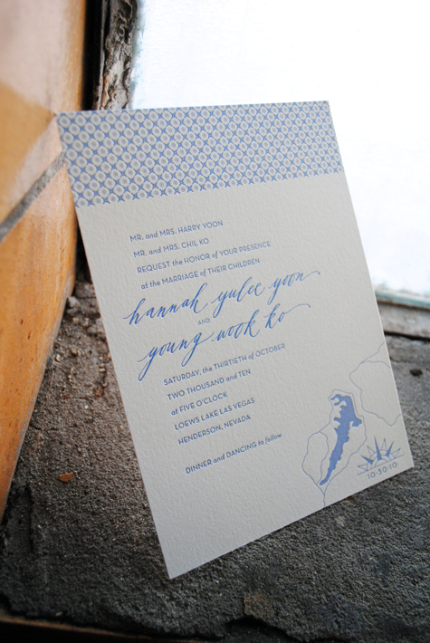 Modern Pattern Letterpress Wedding Invitations