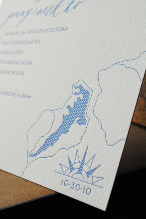Letterpress Lake Map Wedding Invitations