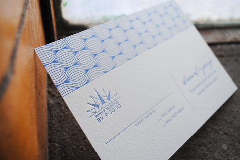 Blue Pattern Letterpress RSVP Card