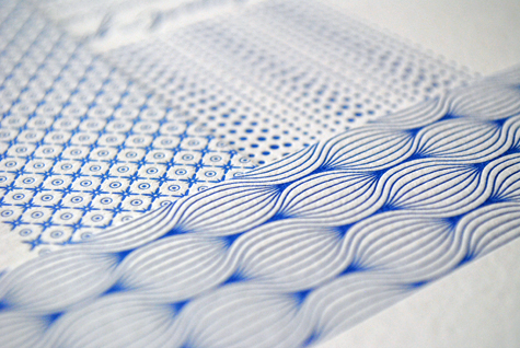 Blue Pattern Letterpress