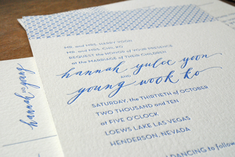 Blue Neither Snow Calligraphy Letterpress Invitations