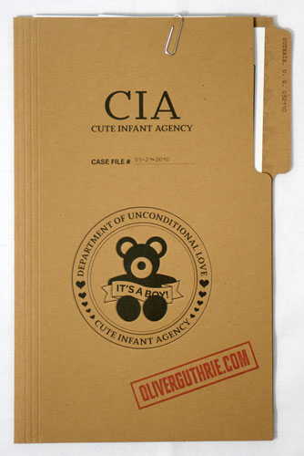 Cute CIA Themed Birth Announcements