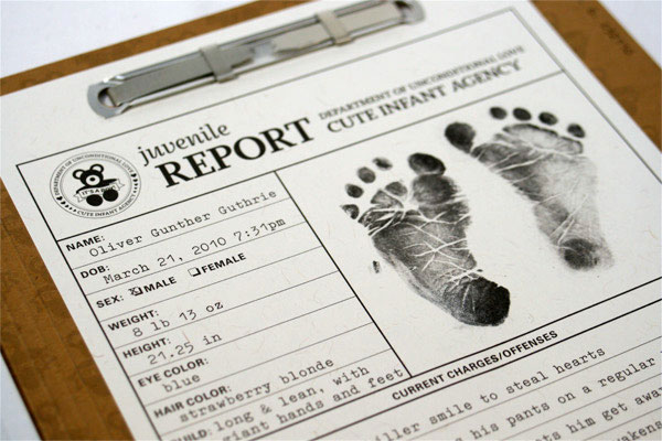 Criminal File Debossed Birth Announcements