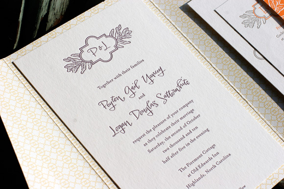 Fall Letterpress Invitations Hand Lettering