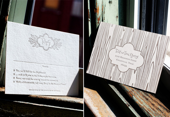 Faux Bois Fall Wedding Invitations