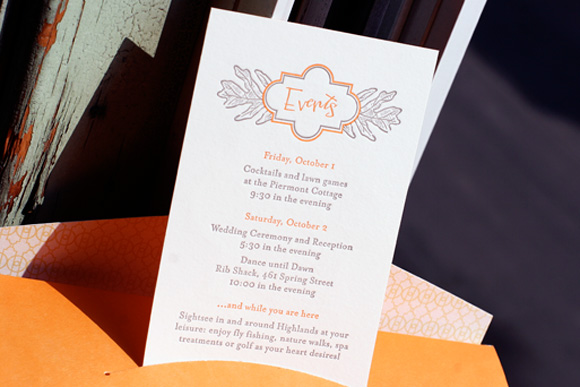 Fall Leaf Letterpress Wedding Event Card