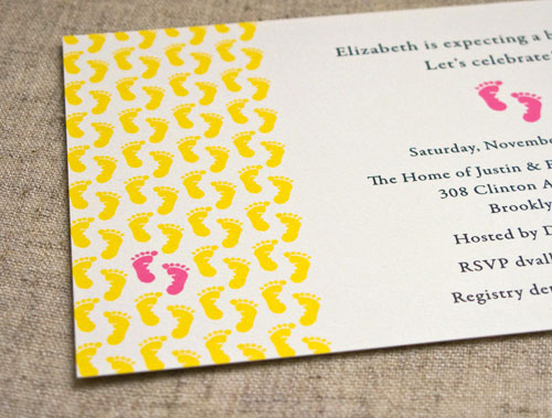 Yellow Pink Footprints Baby Shower Invitations