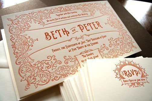 Vintage Ephemera Inspired Letterpress Invitations