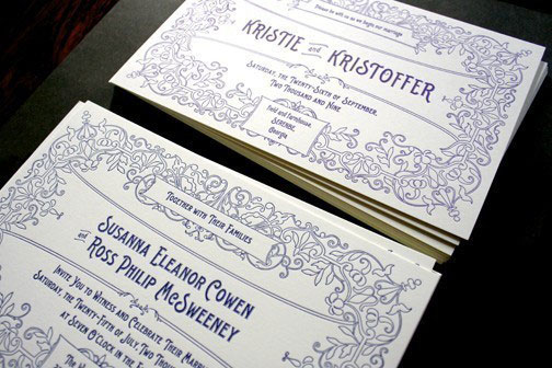 Letterpress Vintage Postcard Wedding Invitations