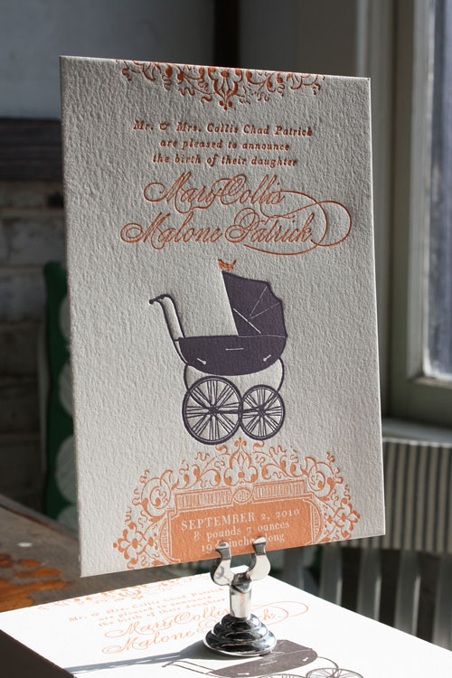 Custom Letterpress Birth Announcements
