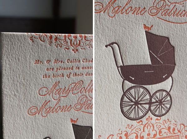 Custom Letterpress Birth Announcements Pram