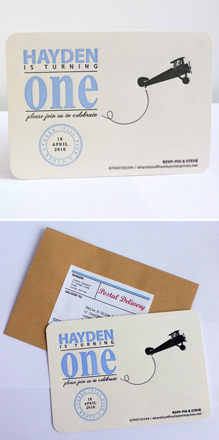 Letterpress First Birthday Invitations Boy