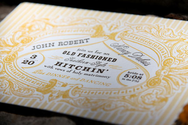 Old Fashioned Southern Letterpress Wedding Invites