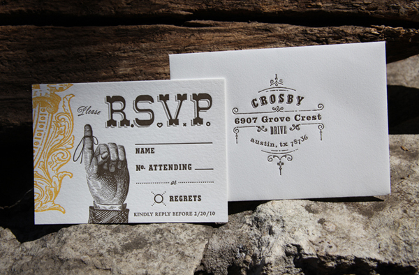 Southern Old Fashioned Letterpress RSVP Cards