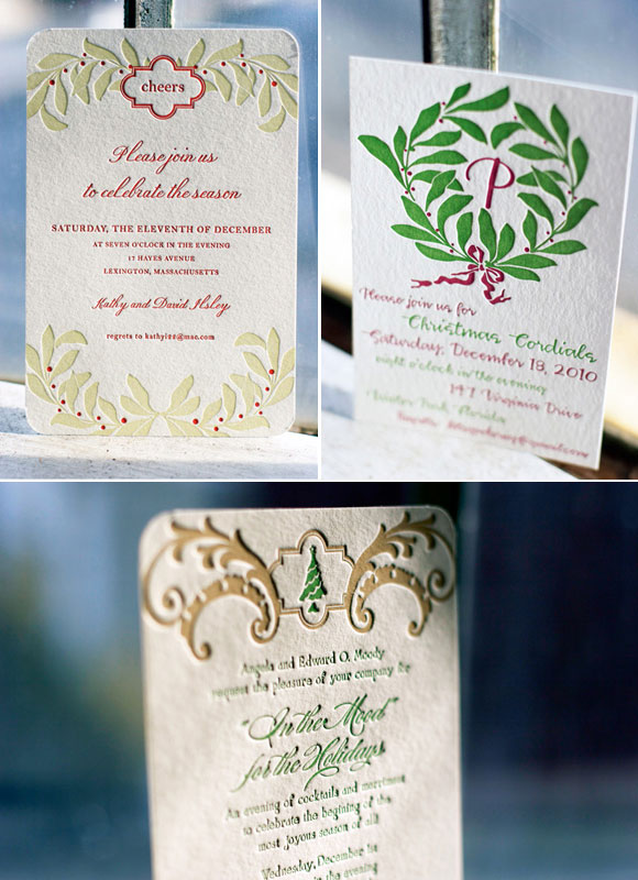 Custom Letterpress Holiday Invitations Smock