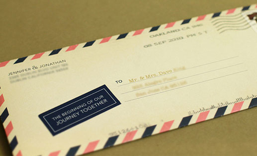Airmail Envelope Travel Wedding Invitations