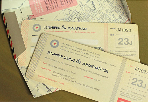 travel-themed wedding invitations for jennifer + jonathan, Wedding invitations