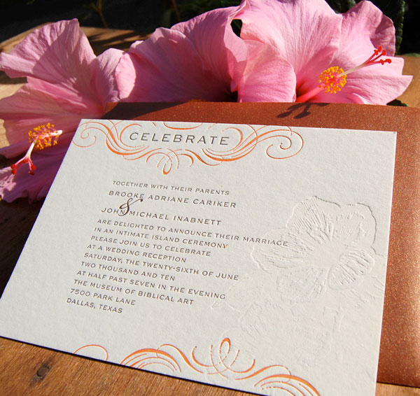 Tropical Letterpress Wedding Invites