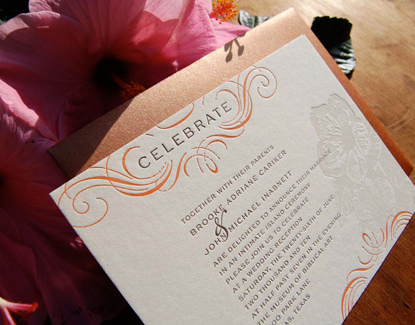 Hawaiian Letterpress Wedding Invitations