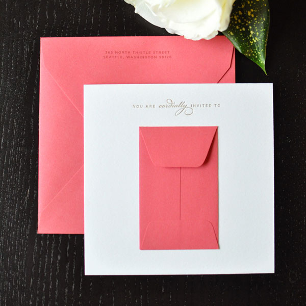 Sweet Pink and Gold Letterpress Shower Invites
