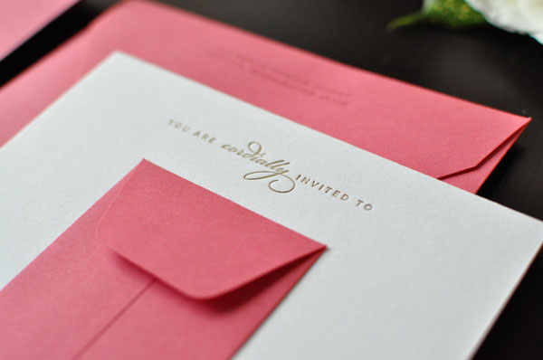 Sweet pink gold bridal shower invites invitation crush pink and gold letterpress bridal shower invitations filmwisefo