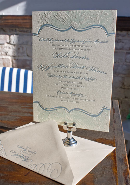 Elegant Blue Lettepress Wedding Invitations