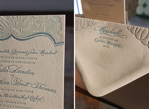 Lucky Luxe Letterpress Wedding Invitations