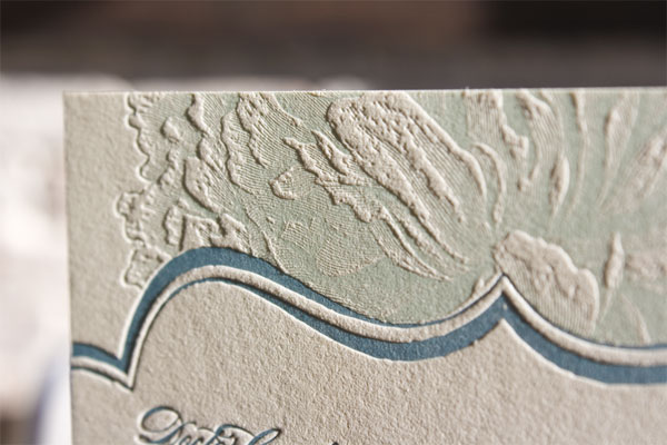 Letterpress Wedding Invitations Blue Celadon