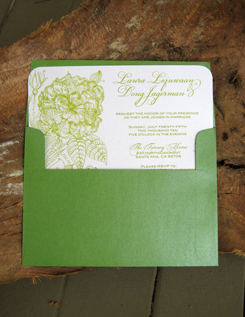 Green Envelope Wedding Invitations