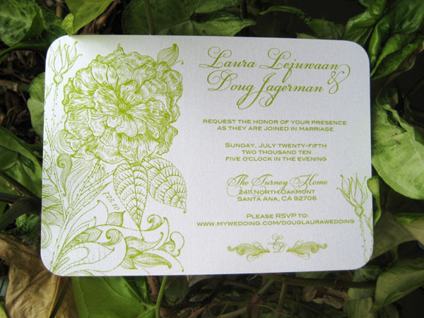 Chartreuse Vintage Floral Wedding Invitations